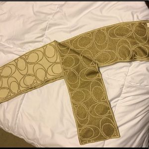 Coach Gold and Ivory Metallic Scarf